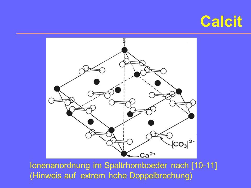 Calcit Ionenanordnung im Spaltrhomboeder nach [10-11]